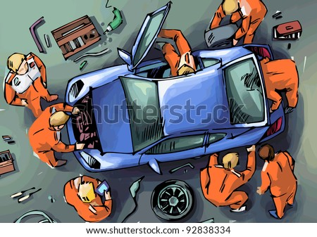 Mechanics are repairing the blue sport car. A view from the top. - stock vector