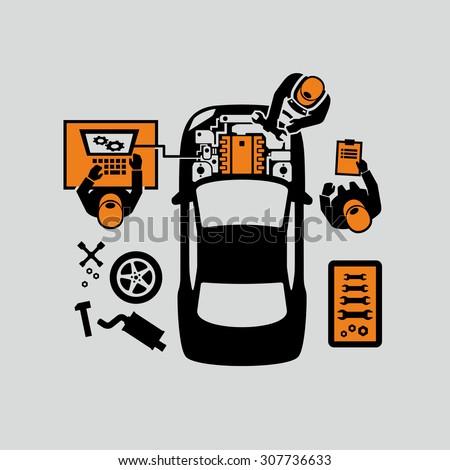 Mechanics Repair Car Engine Vector - stock vector