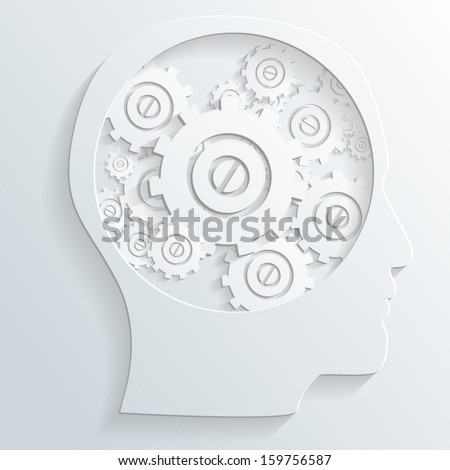 mechanism in head vector - stock vector