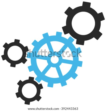 Mechanism vector icon. Image style is bicolor flat mechanism pictogram drawn with blue and gray colors on a white background. - stock vector