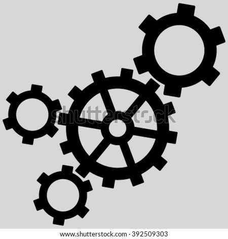 Mechanism vector icon. Image style is flat mechanism pictogram symbol drawn with black color on a light gray background. - stock vector