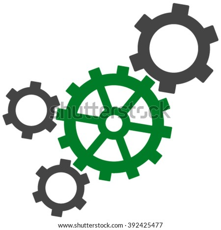 Mechanism vector icon. Mechanism icon symbol. Mechanism icon image. Mechanism icon picture. Mechanism pictogram. Flat green and gray mechanism icon. Isolated mechanism icon graphic. - stock vector