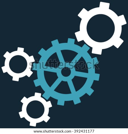 Mechanism vector icon. Picture style is bicolor flat mechanism icon drawn with blue and white colors on a dark blue background. - stock vector