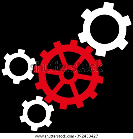Mechanism vector icon. Picture style is bicolor flat mechanism icon drawn with red and white colors on a black background. - stock vector