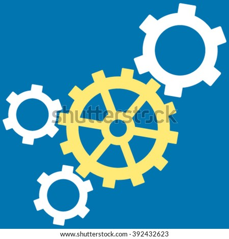 Mechanism vector icon. Picture style is bicolor flat mechanism icon drawn with yellow and white colors on a blue background. - stock vector