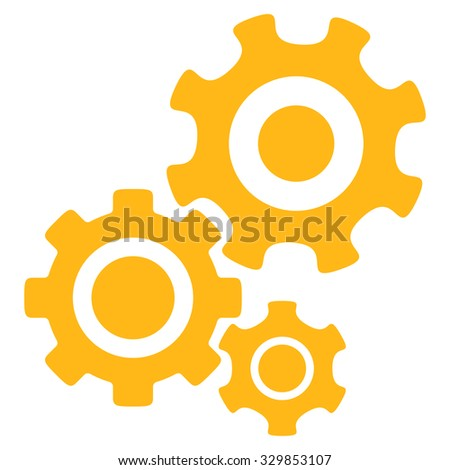 Mechanism vector icon. Style is flat symbol, yellow color, rounded angles, white background. - stock vector