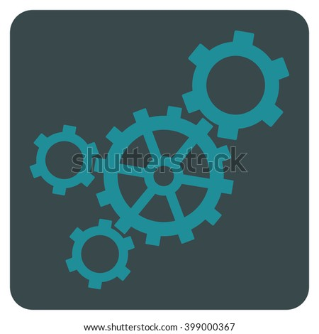 Mechanism vector icon symbol. Image style is bicolor flat mechanism pictogram symbol drawn on a rounded square with soft blue colors. - stock vector