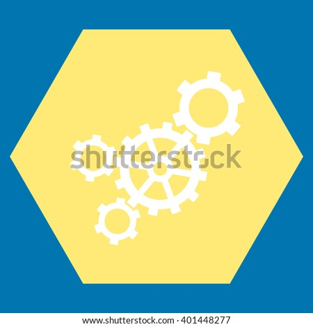Mechanism vector symbol. Image style is bicolor flat mechanism icon symbol drawn on a hexagon with yellow and white colors. - stock vector