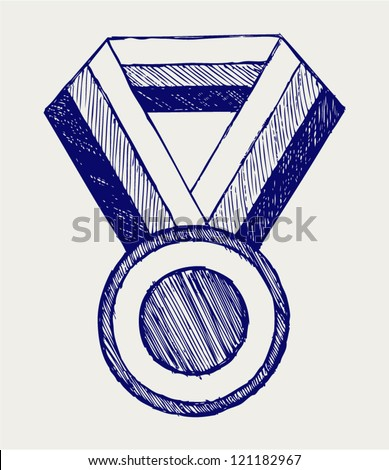 Medal, award. Doodle style - stock vector