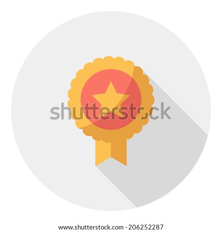 Medal icon. Flat design style modern vector illustration. Isolated on stylish color background. Flat long shadow icon. Elements in flat design. - stock vector
