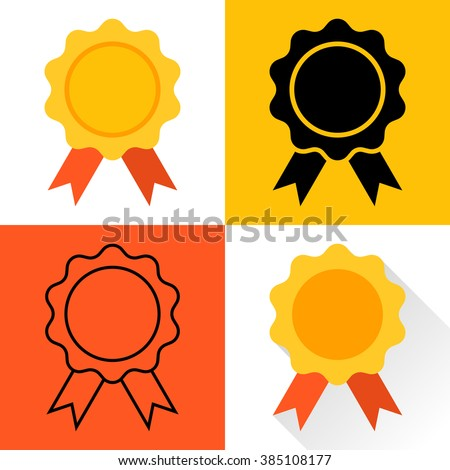 Medal icon. Gold medal. Set of medals: Medal colorful flat design, the black silhouette of a medal, medal outline, medal with long shadow. Trophy, awards, medal. Medal vector. - stock vector