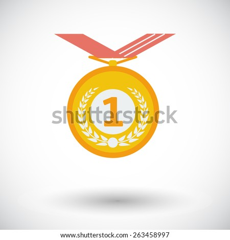 Medal. Single flat icon on white background. Vector illustration. - stock vector