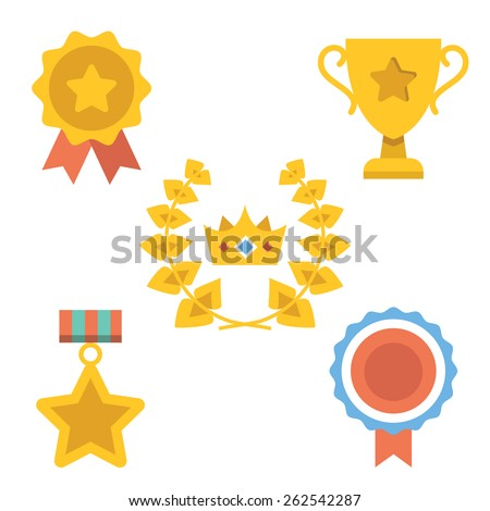 Medals, awards and achievements icons set. Vector illustration. Isolated on white background. - stock vector