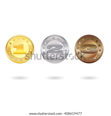 Medals for first, second and third place isolated on white background - stock vector