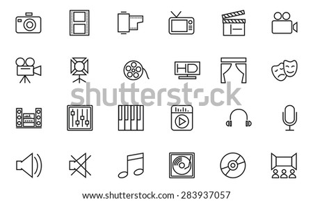 Media and Advertisement Line Icons 1 - stock vector