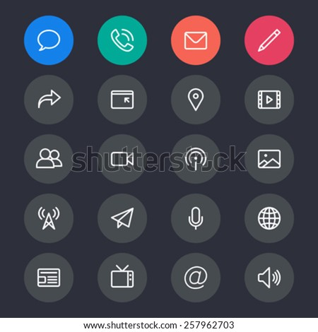Media and communication line icons - stock vector