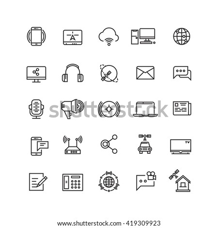 Media and communication line vector icons.  - stock vector