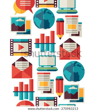 Media and communication seamless pattern with blog icons. - stock vector