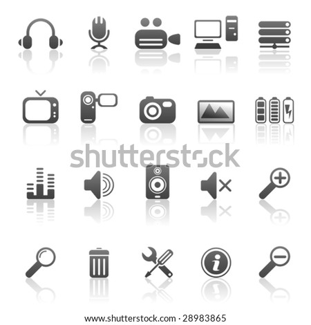 Media and computer icons - stock vector
