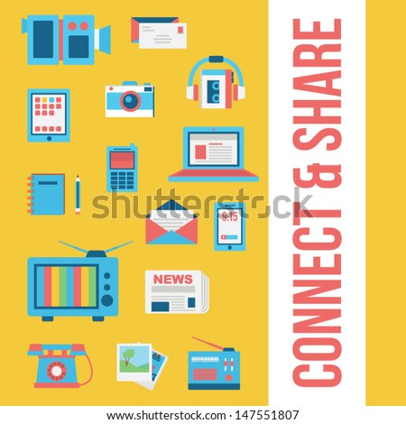 Media background + icons - stock vector