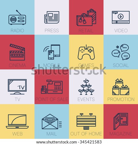 Media channel and advertising concept, vector thin line icons set. Radio, press, retail, video, cinema, mobile, games, social, TV, point of sale, events, promotion, web, mail, out of home, magazines. - stock vector