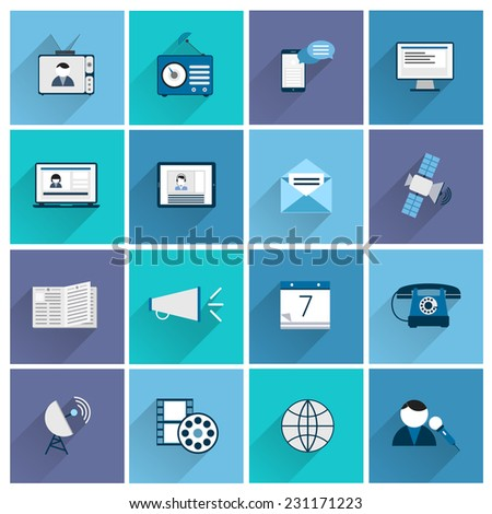 Media communication icons flat set of posting promotion social marketing isolated vector illustration - stock vector