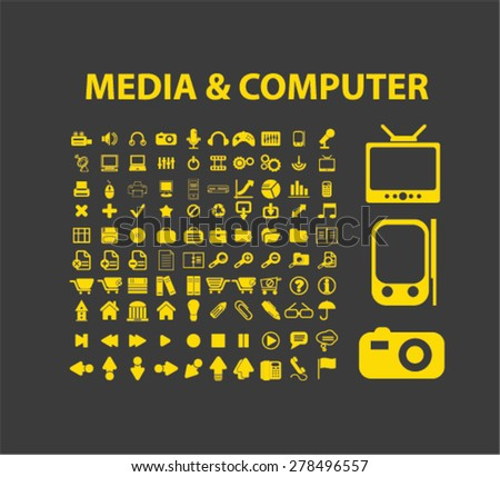 media, computer, music, technology icons, signs, illustrations set, vector - stock vector