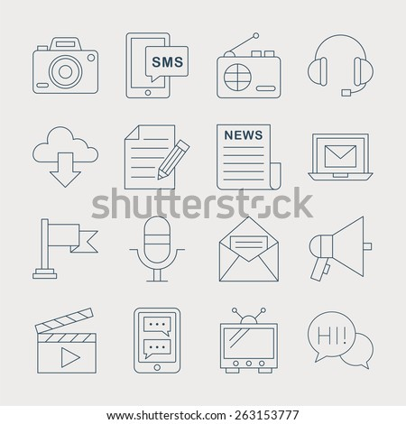 Media electronic line icon set - stock vector