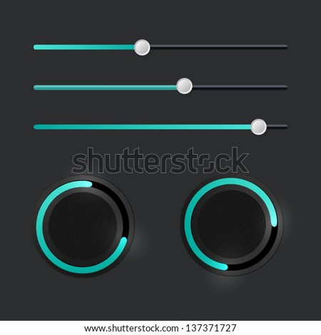 Media elements - stock vector