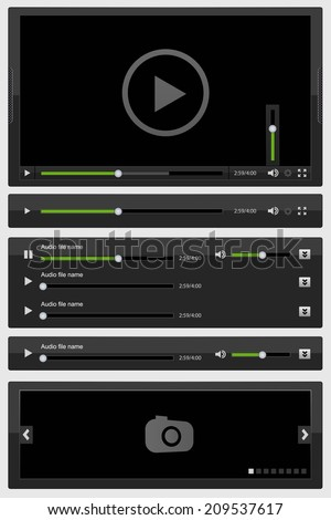 Media elements set black. Vector illustration - stock vector