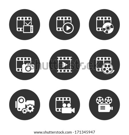 Media icon pack on black background. Vector illustration - stock vector