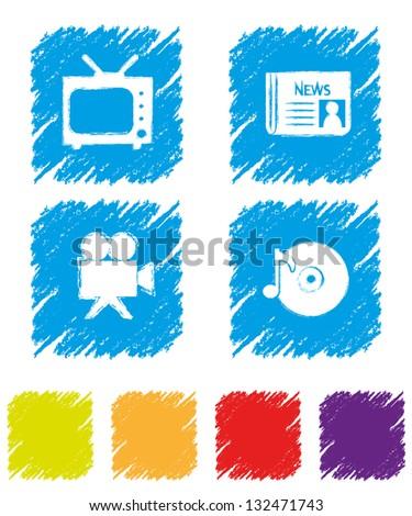 Media Icon Set-1 - stock vector