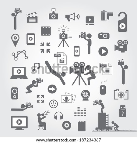 media icon set on gray background  - stock vector