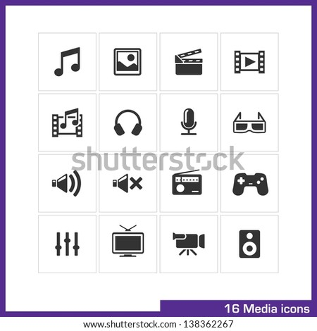 Media icon set. Vector black pictograms for mobile apps, internet, interface design: music, image, movie, video, gallery, headphone, microphone, volume, radio, game, tv, camera, loudspeakers symbol - stock vector