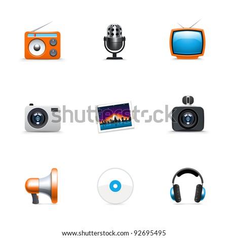 Media icons - stock vector