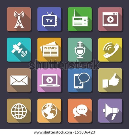 Media Icons. Flaticons series. Vector illustration - stock vector