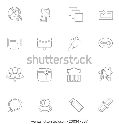 Media icons line drawing by hand Set - stock vector