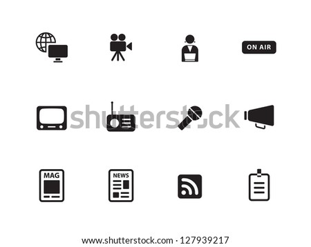Media icons on white background. Vector illustration. - stock vector