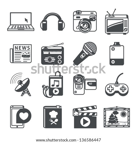 Media icons set. RAW series - stock vector