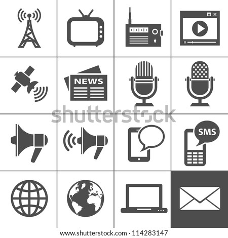 Media Icons. Simplus series. Each icon is a single object (compound path) - stock vector