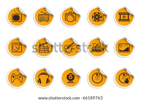 Media icons | Sticky series - stock vector