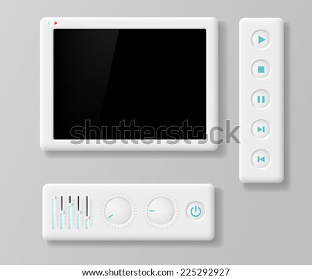 media player buttons and screen - stock vector