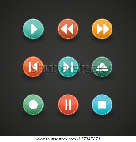 Media player buttons collection vector design elements - stock vector