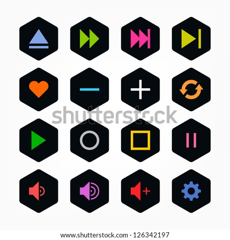 Media player control button ui icon set. Color on black. Simple rounded hexagon internet sign. Solid plain monochrome color flat tile. New minimal elegant metro style. Web design elements 8 eps - stock vector