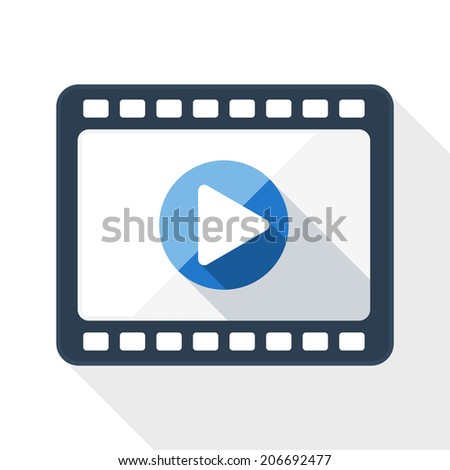 Media player flat icon with long shadow on white background - stock vector