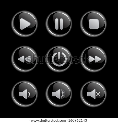 Media player glassy buttons collection - stock vector