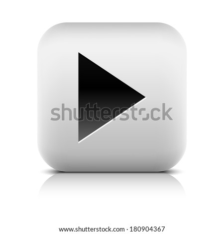 Media player icon with play sign. Rounded square web button with black shadow gray reflection on white background. Series in a stone style. Graphic vector illustration internet design element 8 eps - stock vector