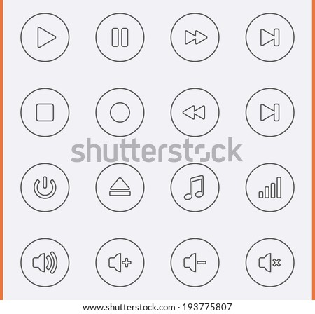 Media Player Icons in thin line style - stock vector