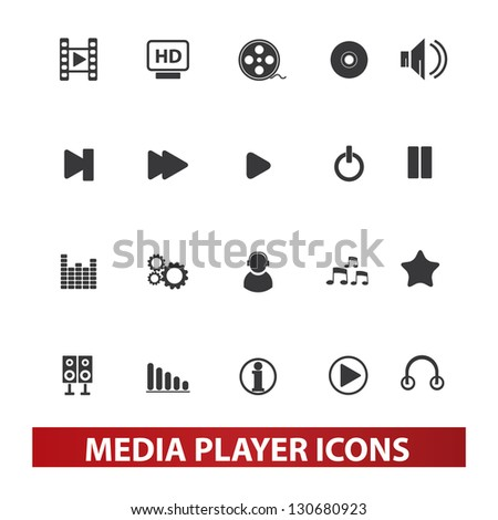 media player icons set, vector - stock vector