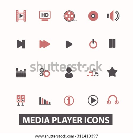 media player icons, signs, illustrations set, vector - stock vector